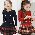 NEW Girls Plaid Dress SZ 2-7 Kid Lovely Long Sleeve Cotton Princess Tutu Dress
