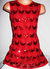 GIRLS 60s RED PEACOCK FEATHER EMBROIDERED SEQUIN EVENING SHIFT PARTY DRESS