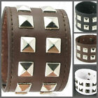 UH013 Punk Double Roll Pyramid Stud Wide Leather Wristband Bracelet Cuff Lolita