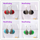 Fashion jewelry 28mm coin beads tibetan silver dangle earrings 1 pair for girls