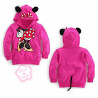 NWT Toddler Girls Hooded Kids Minnie Mouse Bow Thin T Shirt Costume Tail 2T - 6