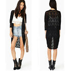 Women Lace Sheer Sleeve Floral Crochet Loose long Tee Top Blouse Cardigan hollow