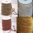 New Free Ship 5/100m Silver/Golden/Copper/Bronze Curb Open Link  Metal Chain