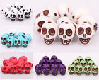 New 20/40pcs Acrylic Carved Turquoise Skull Loose Spacer Beads For Jewelry DIY