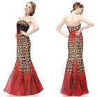 US Women's Long  Strapless Brown Prom Dress Mermaid Evening Formal Dress 09881