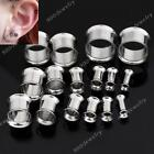 Pair Double Flare Hollow Ear Plug Stainless Steel Flesh Tunnel Earlet Pick Gauge