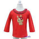 Baby Girls Red White Polka Dots Year of Horse 2014 Long Sleeves Tee Shirt 1-7Y