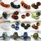 5pcs Big Hole Natural Gem Gemstone Charm European Beads Fit Snake Chain Bracelet