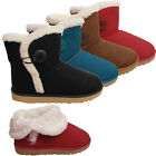 Ladies Womens New Buttoned Fur Lined Grip Sole Winter Snugg Boots Shoes Size Uk