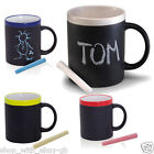 BLACK CHALK MUG COLOURED TRIM - KITCHEN CERAMIC CUP CHALK - TEA/COFFEE/NOVELTY