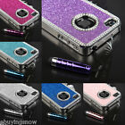 For iPhone 4 4S Aluminum Bling Steel Hard Cover Case w/ Screen Guard + Stylus