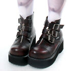 Goth Punk 3 Buckle Strap Zipper Cross Platform Maroon Military Ankle short Boot