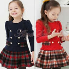 New Kid Toddler Girls Lovely Plaid Long Sleeve Cotton Tutu School Dress Age 2-7Y