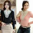 Women Crochet Lace Neck Faux Pearl Stand Collar Cotton Slim Tee Shirt Top Blouse