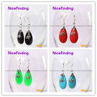 Fashion jewelry 12x30mm drip beads tibetan silver dangle earrings for women
