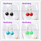 Fashion 10mm round ball beads silver dangle earrings 1 pair for girls and lady