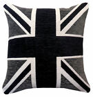 Black & Grey Union Jack Chenille Cushion Covers or Filled Cushions British Flag