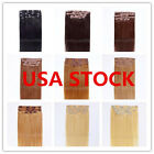 USA STOCK!15inch remy human hair clip In Extensions 7pcs&70g ,3-5 days delivery!