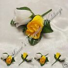WEDDING FLOWERS BUTTONHOLE DOUBLE SILK ROSEBUDS YELLOW WITH OR WITHOUT BOW