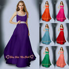 New Long Chiffon Evening Party Ball Gown Formal Prom Bridesmaid Dress Size 6-26