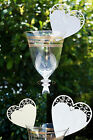 New 10 x White or Ivory Heart Glass Place Name Cards Wedding Placecards Blank