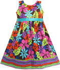 Girls Dress Colorful Leaves Brown Beach Sundress Kids Clothes Size 2-8 New
