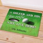 Personalized Golf Doormat Golfer and Wife Live Here Doormat Golf Lover Gifts
