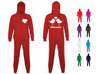 NEW ADULT MENS WOMENS TWEET-HEARTS VALENTINES LOVE BIRDS FLEECE ONESIE PYJAMAS