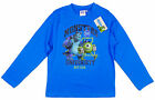 Boys Monsters Inc University Long Sleeve T-Shirt Top Blue 3-8 yrs NEW