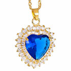 Women Jewellery Heart Cut 18K Gold Plated Gp Pendant Necklace Free Chain