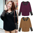 Womens Batwing Sleeve Peterpan Collar Dots Knitted Jumper Pullover Sweater