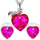 Lady Heart Swarovski Crystal Elements Earrings Pendant Necklace Jewelry Set