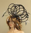 Black & White Large Feather Fascinator Hat  Choose any colour Satin & Feather