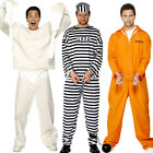 Convict Prisoner Orange Prison Break Boiler Suit Fancy Dress Costume Adult Mens