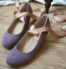 Custom Handmade Genuine Leather Ballerina Ballet Ribbon Wedge Platform Pump Heel
