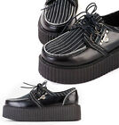 "Tokyo Kera Street Pinstripe Leather Zipper Punk Rockabilly Ripple 2"" Hi Creeper"