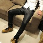 Men's Casual Skinny Light PU Imitation Leather Trouser Chaparajos Pants Denim