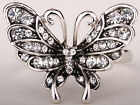 Silver crystal butterfly ring 5 FASHION JEWELRY charms size 6 7 8 9