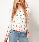 Womens Lady Red Lip Print Chiffon Shirt Pocket Long Sleeve Button Blouse Tops