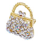 Golden Party Handbag Pin Brooch For Ladies Alloy Metal with Crystal Rhinestone