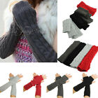 Fashion Lady Braided Crochet Soft Knitting Long Arm Warmer Fingerless Gloves US