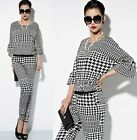 NEW Amazing Houndstooth Womens Crew Neck Halter Romper Jumpsuits OL Style Pants
