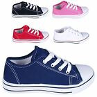Childrens Kids Boys Girls Canvas Rubber Toe Low Top Trainer Pumps