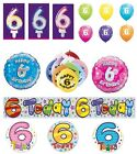 6th Birthday AGE 6 - Large Range of Party BALLOONS - Foil/Latex/Airfill/Helium