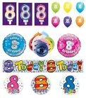 8th Birthday AGE 8 - Large Range of CAKE CANDLES & Party BANNERS - Plastic/Foil