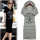Fashion Letter Print Cotton Slim Fitted Summer Casual Hoodie Long T-Shirt Dress
