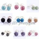 4mm Round Pave CZ Crystal Ball White Silver Plated Fashion Stud Earring 1 Pair
