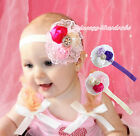 Elegant Wedding Flower Girl Pink Purple Pearl Lace Clip Headband Accessory Set