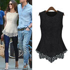 Womens Sleeveless Embroidery Lace Flared Peplum Crochet T-Shirt Vest Blouse Tops