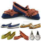 Vintage Ladies Womens Work Faux Flat Suede Tassel Bow Leather Shoes Loafers